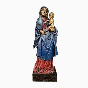 Estatua grande de madera pintada y dorada de la Virgen y el niño, década de 1900