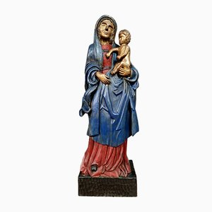 Virgin & Child, Large Painted & Gilded Wood Statue, 1900s