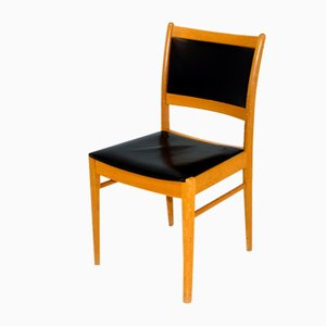 Oak and Leather Chair, Sweden, 1960s
