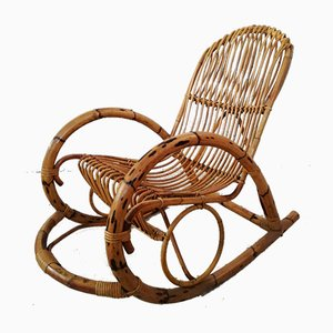 Vintage Rocking Chair in Bamboo and Midollino