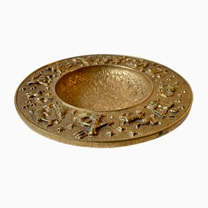 Vintage Danish Bronze Zodiac Bowl with Moon Texturing from Nordisk Malm, 1940s