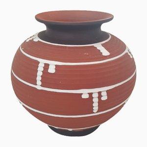 Braune Scherben Vase mit weißen Akzenten, 1960er