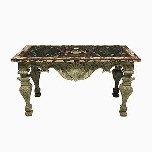 Tavolo barocco intagliato e dipinto di Pietra Dura, Italia