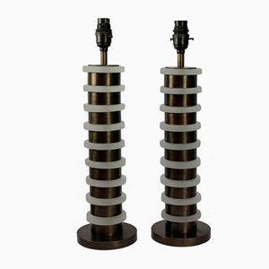 Vintage Art Deco Style Table Lamps, Set of 2