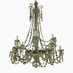 Lámpara de araña antigua de vidrio tallado de Perry & Co.