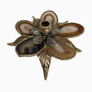 Bougeoir en Bronze et Agate Attribué à Henri Fernandez