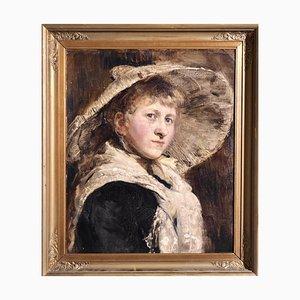 Retrato de mujer estilo holandés, siglo XIX