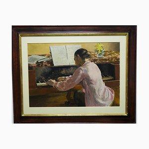 Jacques Denier, Jeune fille au piano, 1930, óleo sobre lienzo