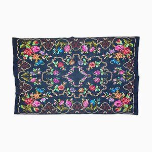 Handwoven Floral Wool Rug