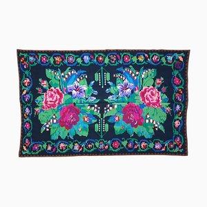 Romanian Handwoven Carpet Green and Fuchsia Rug