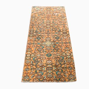 Small Vintage Turkish Handmade Low Pile Oushak Rug in Orange Wool with Floral Design