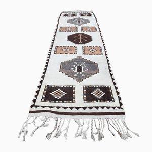 Vintage Turkish Handmade Oushak Runner Rug in White Wool