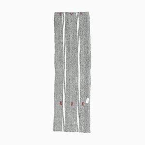 Vintage Turkish Handmade Oushak Kilim Flatweave Runner Rug in Gray Wool