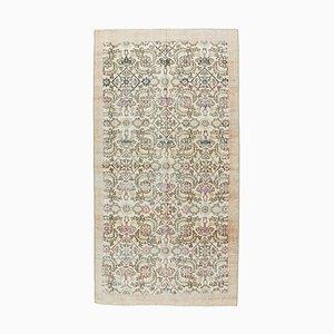 Vintage Turkish Handmade Oushak Floral Rug in Neutral Wool