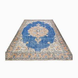 Handgefertigter türkischer Vintage Oushak Area Teppich aus blauer Wolle