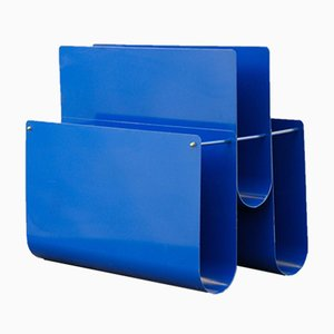 Portariviste in metallo blu, Italia, anni '80