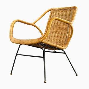 Wicker Armchair on Iron Legs, Italy, 1950s