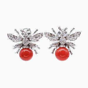 Diamanten, Saphire, Aka Korallen und 14 Karat Weißgold Bienen Ohrringe, 2er Set