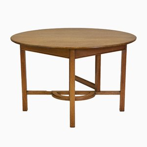 Art Deco Solid Oak Drop Leaf Dining Table in the Style of Heals, 1920s