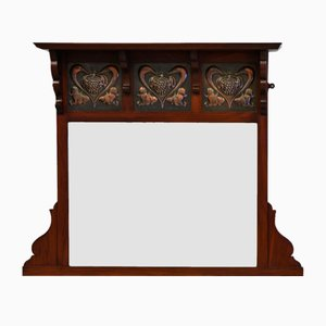 Art Nouveau Arts & Crafts Walnut Overmantel Wall Mirror