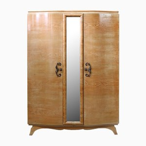 Elm Armoire with Full Length Mirror, France, 1940s
