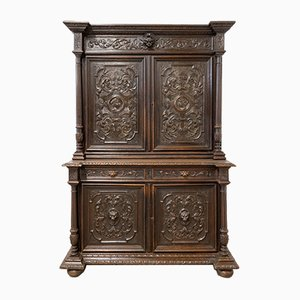 Renaissance Revival Oak 2-Part Buffet Cabinet, France, Mid-19th Century