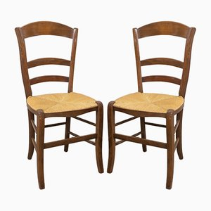 French Rustic Dining Chairs with Rush Seats & Ladder Backs, Early 20th Century, Set of 6