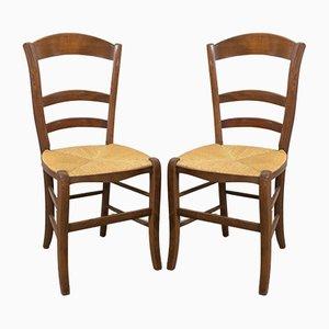 Sillas de comedor francesas rústicas con asientos de junco y respaldos de escalera, principios del siglo XX. Juego de 6