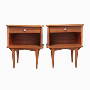 Wooden Nightstands or Side Cabinets, France, 1960s, Set of 2