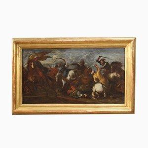 Antique German Battle Painting, 17th Century