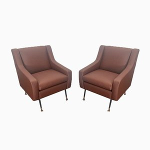 Armchairs in Leatherette, Italy, 1950s, Set of 2