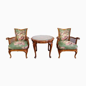 Armchairs and Chippendale Table in Solid Beech, 1950s, Set of 3