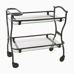 Leather Sheathed Bar Trolley by Jacques Adnet