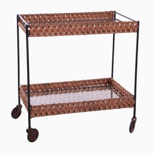 Vintage French Rattan Trolley with Glass Plates, 1960