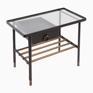 Night Table Sheathed in Leather by Jacques Adnet