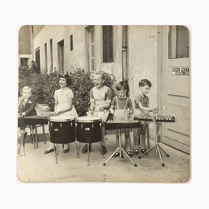 Drumming Kids, Black & White Photograph on Wooden Board, 1940s