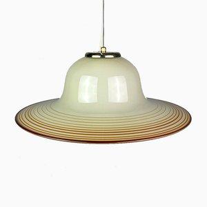Mid-Century Beige Murano Glass Pendant Lamp from De Majo, Venice, Italy, 1970s