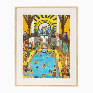 Pool, Color Lithograph