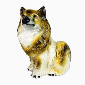 Vintage glasierte Keramikskulptur eines Hundes, Italien, 1960er