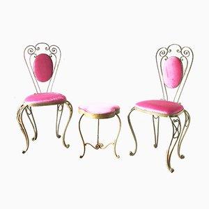 Chaises et Pouf par Pierluigi Colli, 1950s, Set de 3