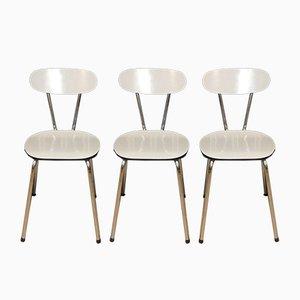 Chrom & Weiß Melierte Formica Küchenstühle, 1960er, 3er Set