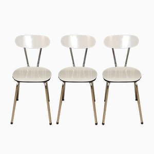 Chrome & White Mottled Formica Kitchen Chairs, 1960s, Set of 3