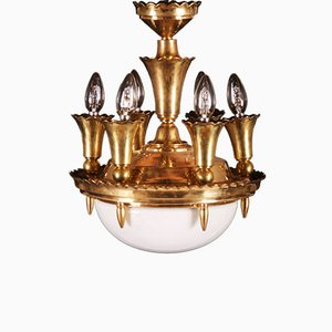 Art Deco Brass Chandelier, 1920s