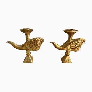 Französische vergoldete Vogel Kerzenhalter von Pierre Casenove für Fondica, 1980er, 2er Set