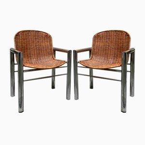 Stühle aus Korbgeflecht & Stahl, 2er Set