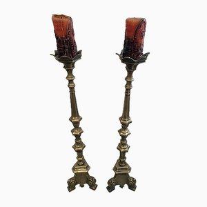 Candeleros de bronce. Juego de 2