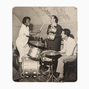 Groupe de Jazz, Photographie Noir & Blanc sur Planche de Bois, 1940s