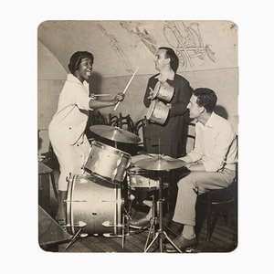 Jazz Band, Black & White Photograph on Wooden Board, 1940s