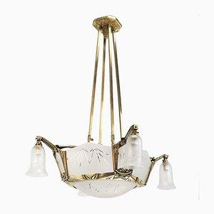 Art Deco Deckenlampe aus Bronze