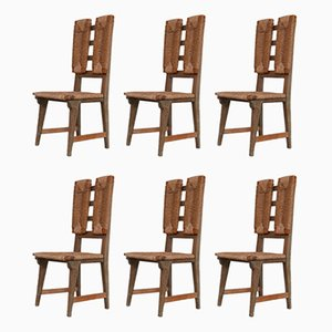 Mid-Century French Rush Dining Chairs, Set of 6